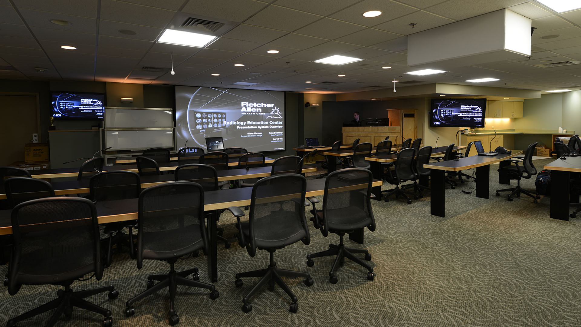 health system 4K custom projection system powerwall