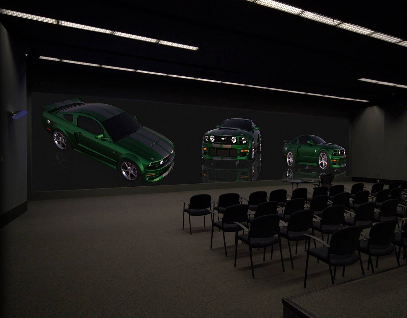 Ford mustang 4K projection three screen automotive  renderings