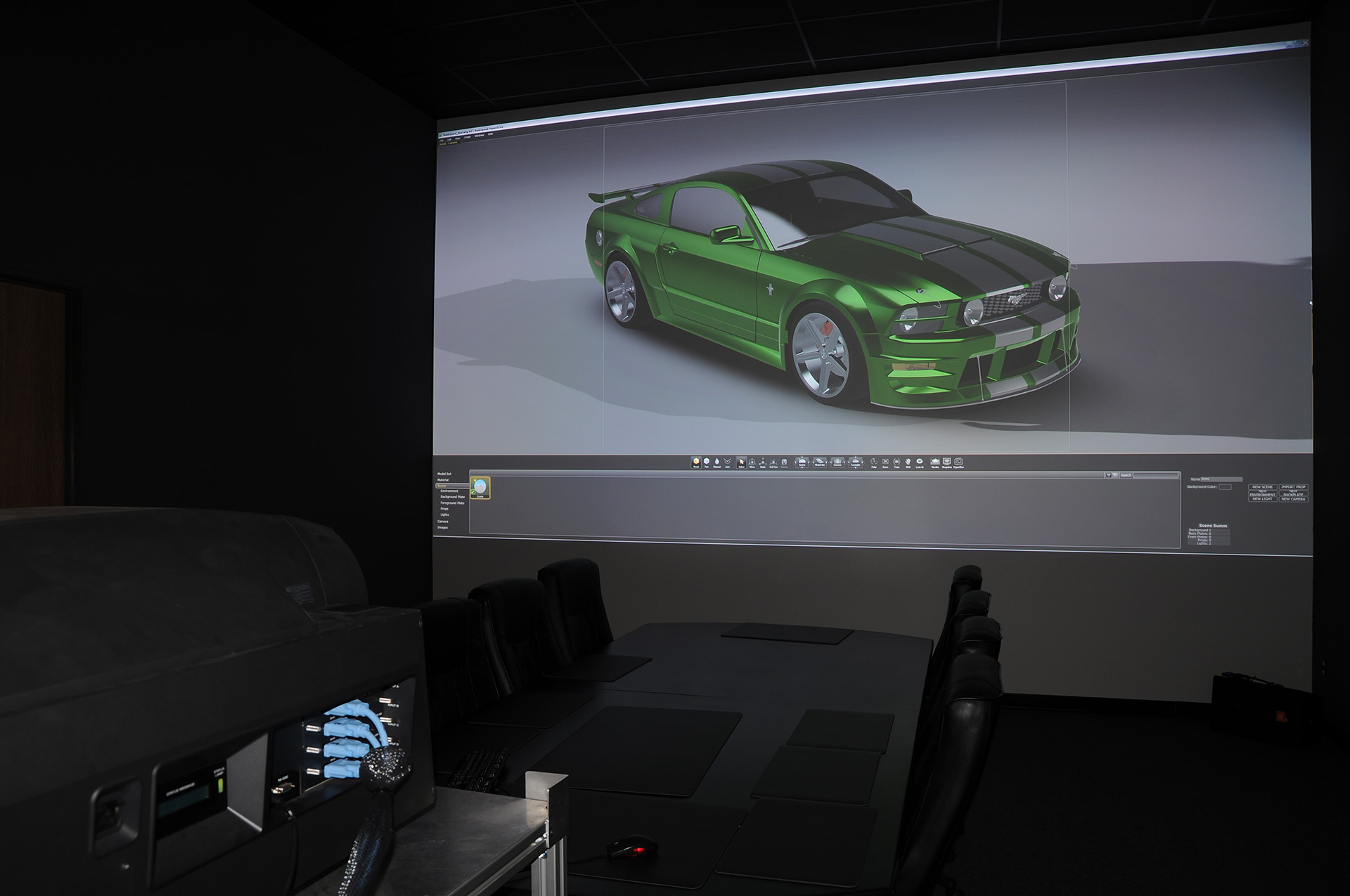 Ford mustang design 4K projection equipment rendering