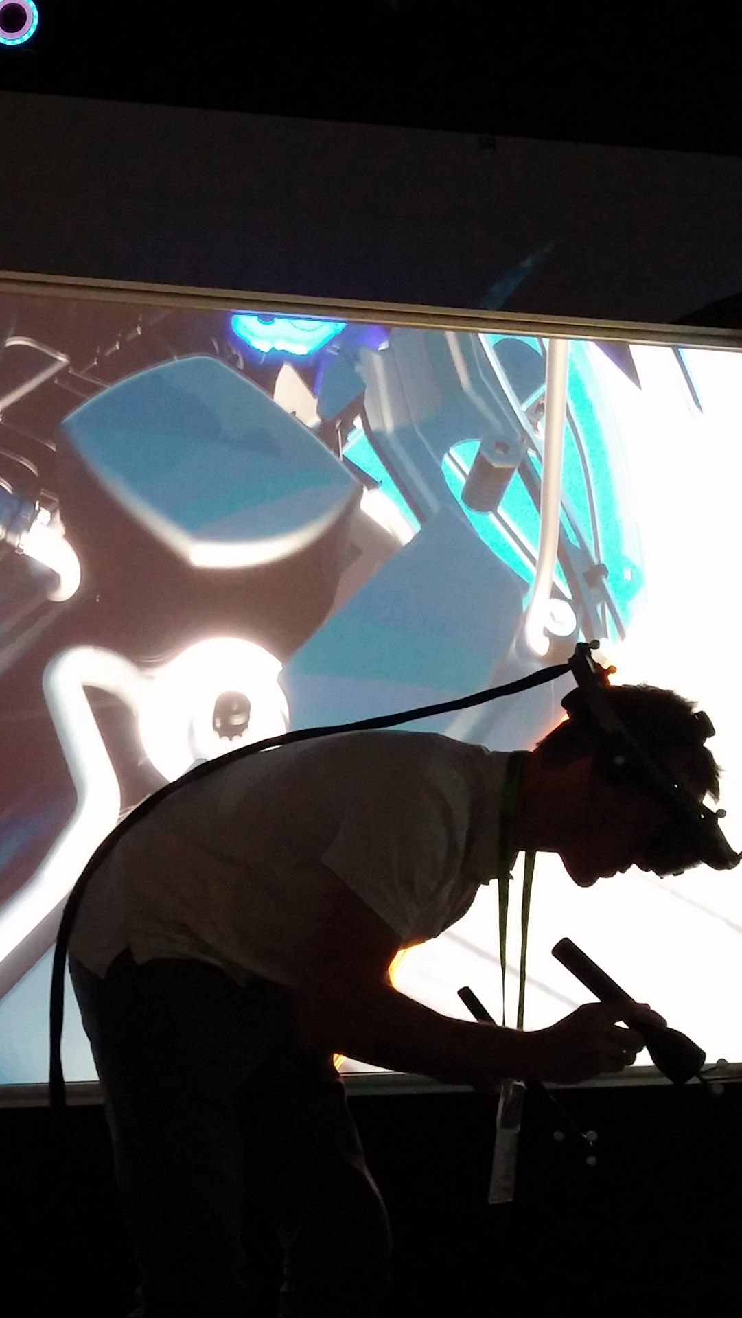 VR immersed user inspecting rendered automotive model