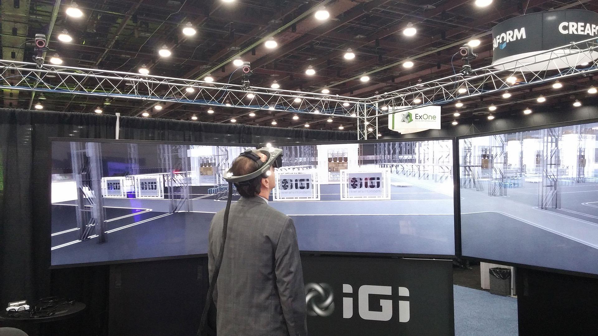 IGI walkthru three screen stereo 3D virtual reality
