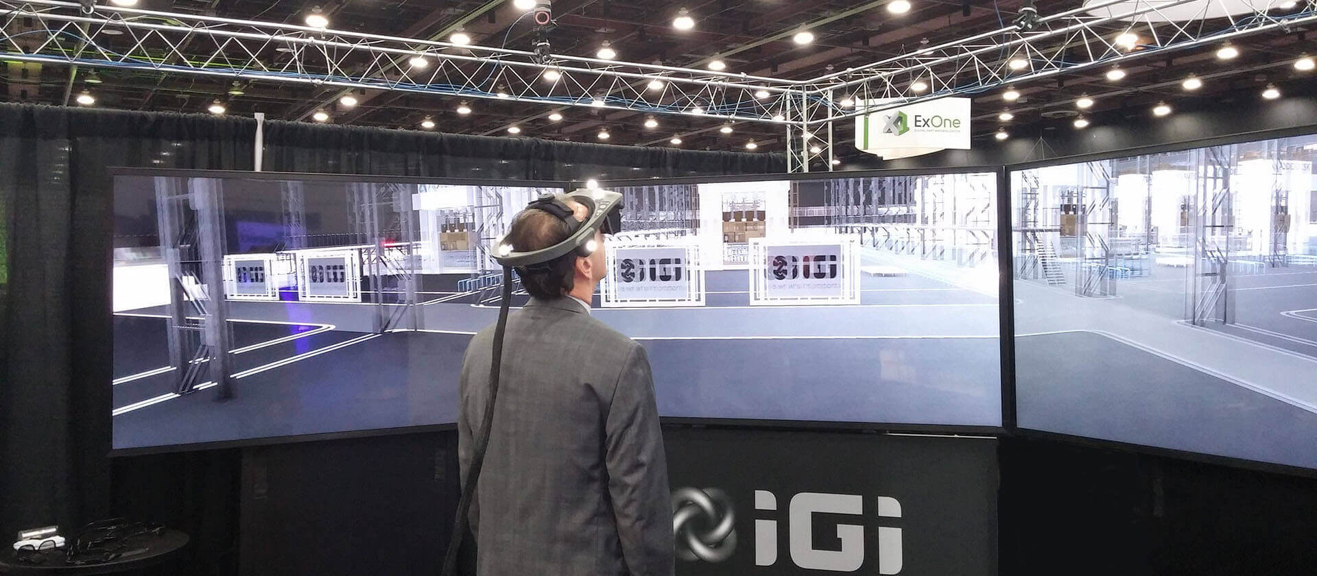 IGI walkthru three screen stereo 3D virtual reality