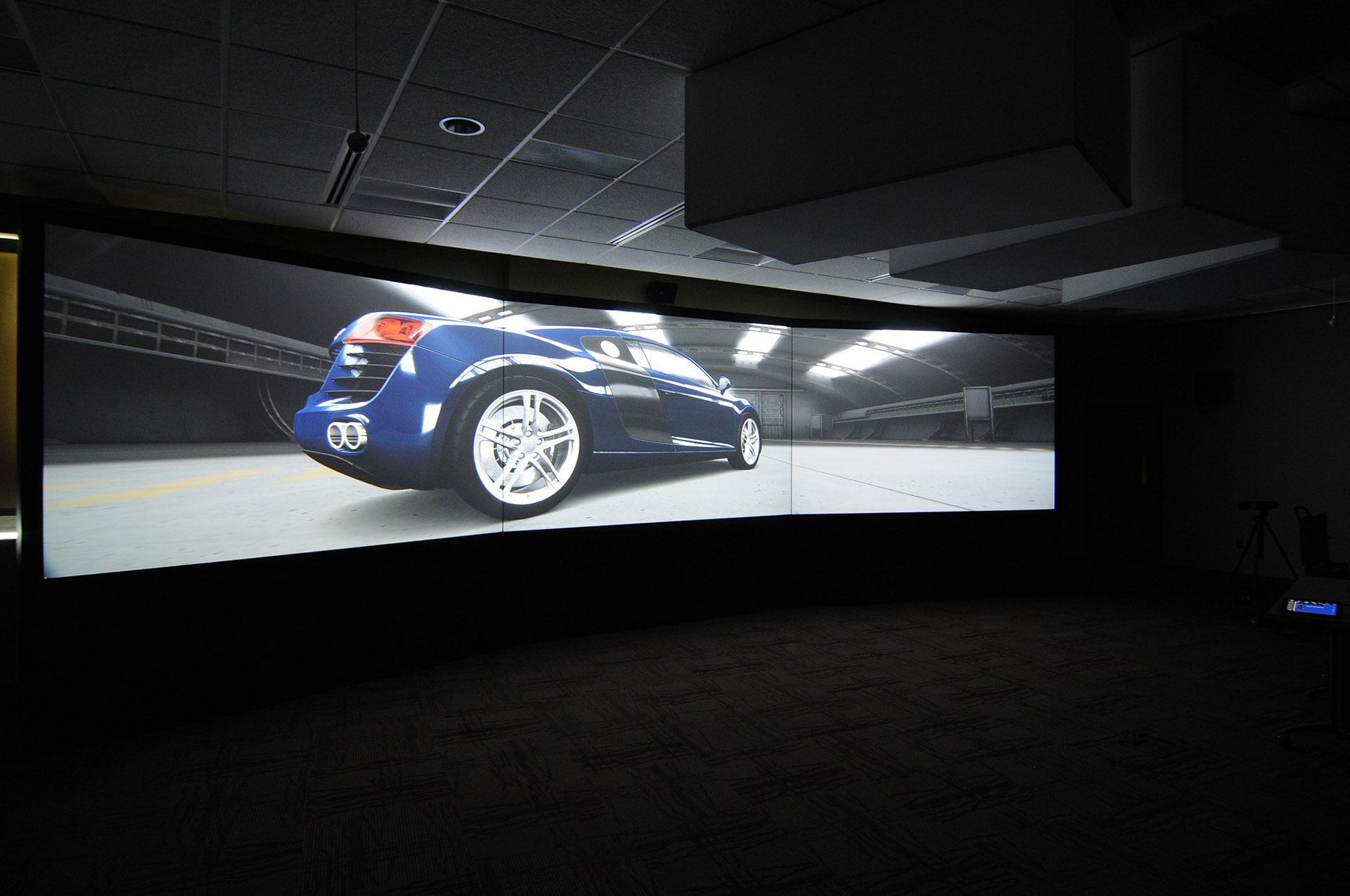 large scale high resolution three screen 4K projection