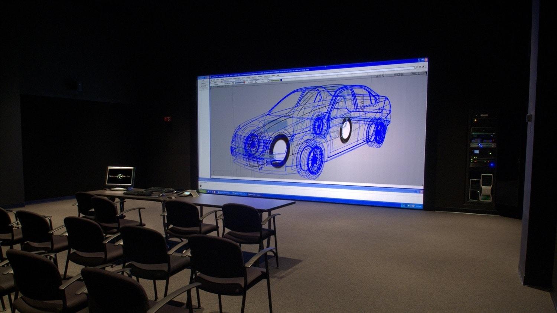 automotive CAD rendering engineer 4K projection