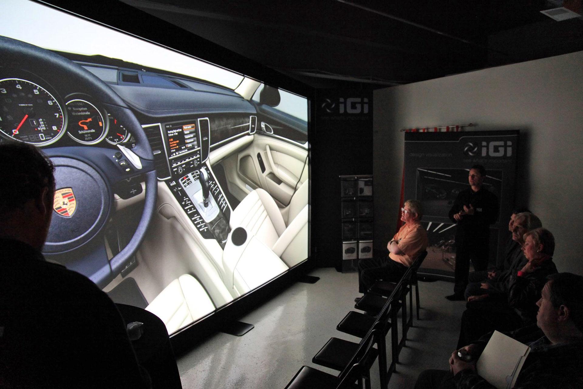 porsche rendering on PowerWall automotive projection