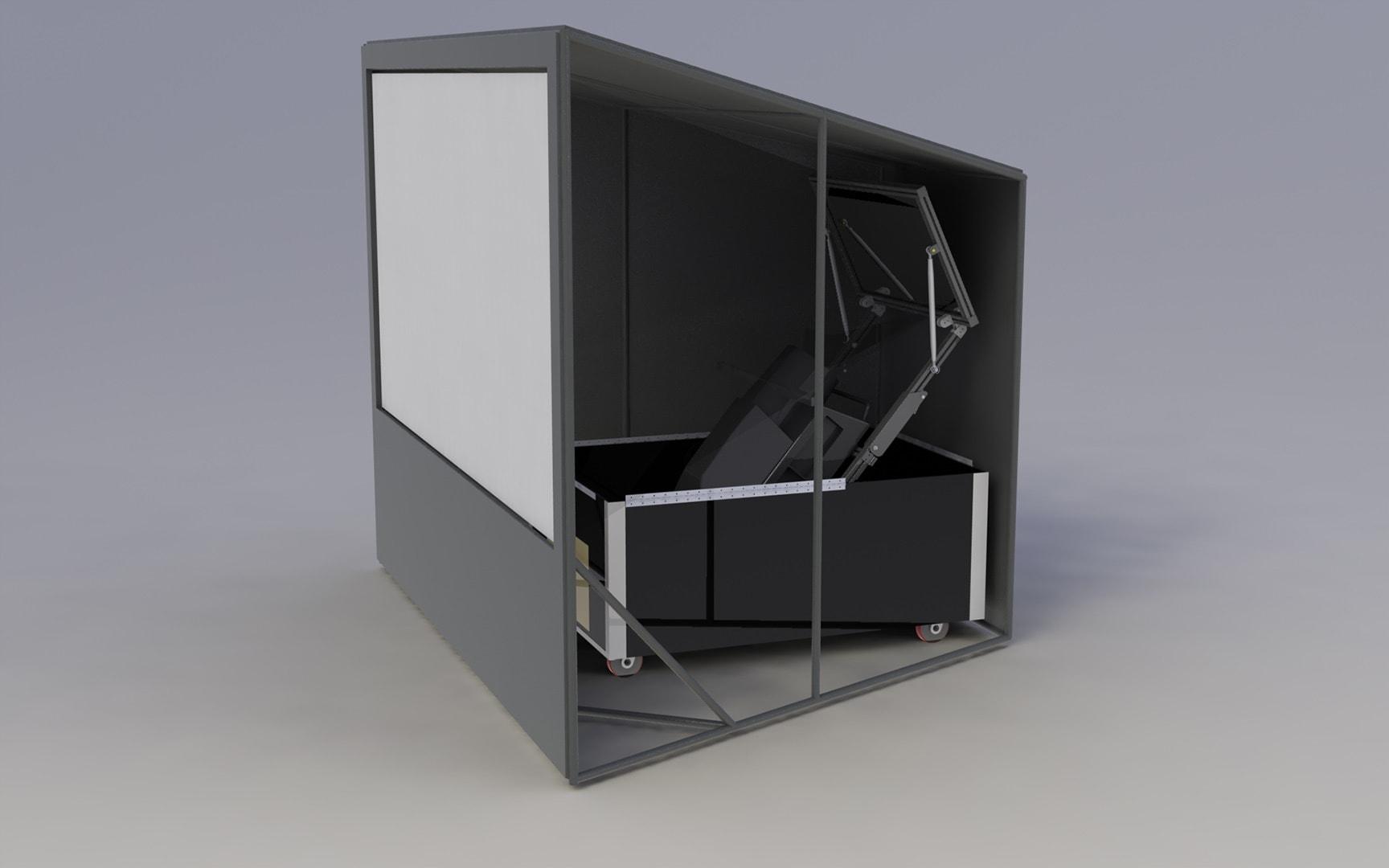 PowerWindow system rendering folded optics projection
