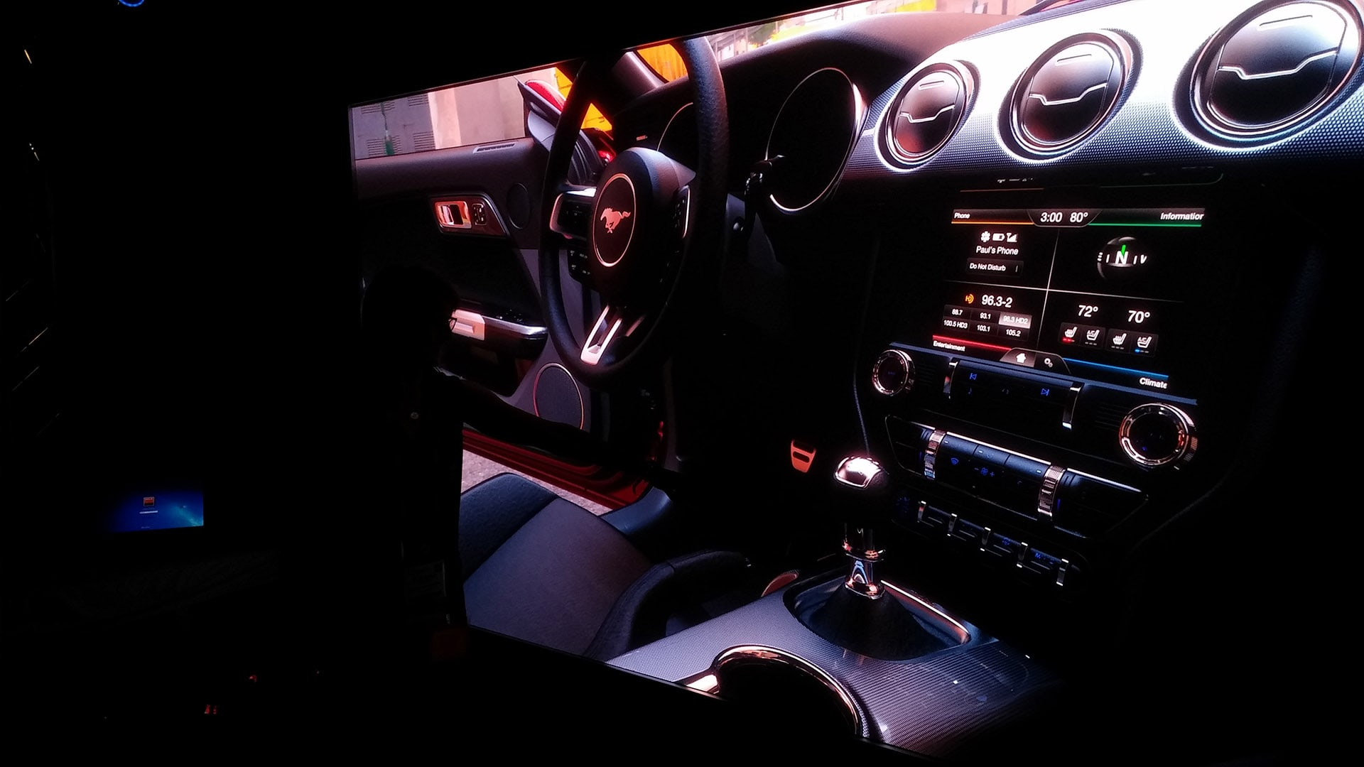 Ford Mustang interior 4K projection powerwall