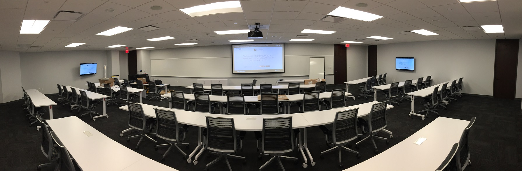 Projection display in a classroom-training room